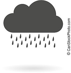 Dark grey icon for rain on white background with shadow -...