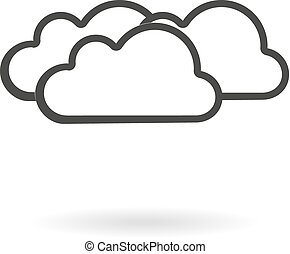 Dark grey icon for cloudy on white - Isolated dark grey icon...
