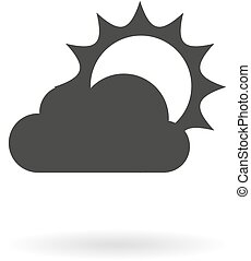 Dark grey icon for partly cloudy on - Isolated dark grey...