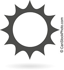 Dark grey icon for sun or sunny wea - Isolated dark grey...