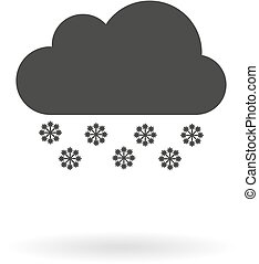 Dark grey icon for snowy on white b - Isolated dark grey...