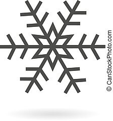 Dark grey icon for snow or snowflak - Isolated dark grey...