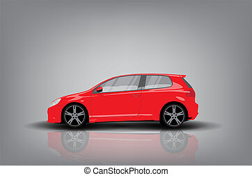 Red car - Side view of red car on grey background