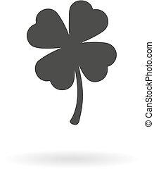 Dark grey icon of four leaf (clover
