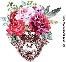 Vector monkey - Beautiful vector image with nice monkey with...
