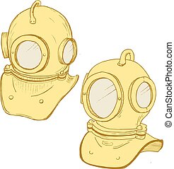 Retro diving suit helmet