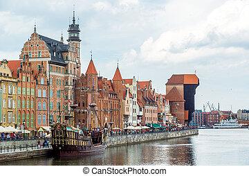 Cityscape,  vistula, Rzeka,  Gdańsk, Polska