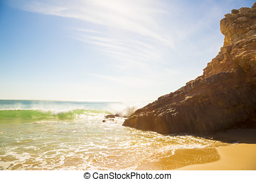 view to the ocean and cliff at Zavial beach in Portugal