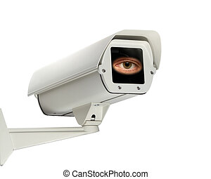 security - An eye looks out from a security camera