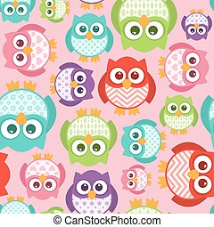CutePatterned Owls, Seamless Tile - Some cute...