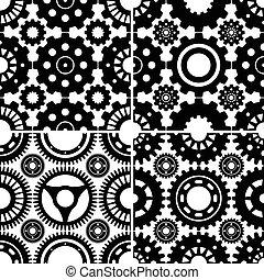 Seamless Gear Patterns Set