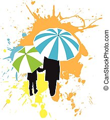 Adult And Child Under Umbrellas