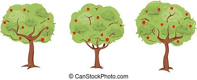 Apple Trees - A set of 3 pre-made, but customizable trees...