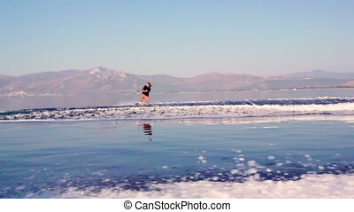 Water Ski - Young Man Wakeboarding Jump On Summer Vacations