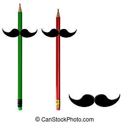 Movember moustaches o red, green pencils and isolated on...