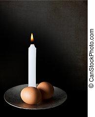 dos, huevos, y, Un, vela, circuncisión, ceremonia,...