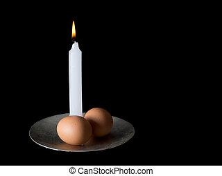 ceremonia, símbolos, huevos, dos, Plano de fondo, negro,...