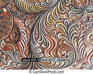 Floral Carved Wood background illustration