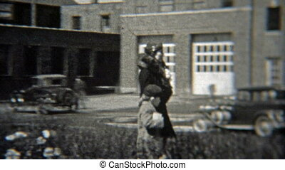 1937: People walking past - Original vintage 8mm film home...