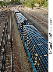 Freight Train - Freight train wagons at a station