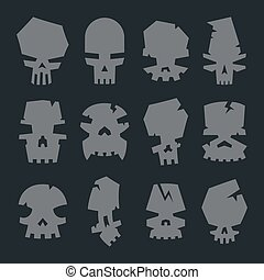 set of scary monsters skull