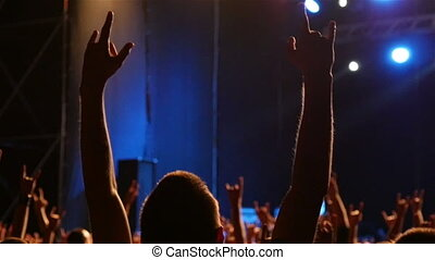 Silhouette Of Man Hands Raised Up Slow Motion - Silhouette...