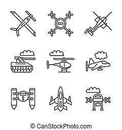 Military unmanned vehicles flat vector line icons - Mode of...
