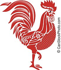 Folk Rooster - Red folk stylized rooster