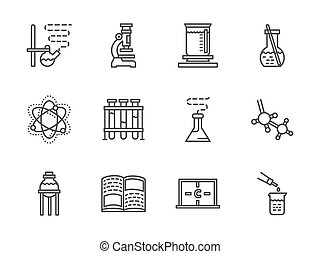 Flat line chemistry research vector icons - Laboratory and...