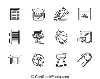 Flat line sports equipment vector icons - Physical culture...