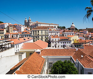Many roofs - A nice view out over the city Lisabon, Portugal