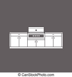 Summer kitchen cabinets with grill