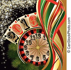 Casino 2016 New year background, vector illustration