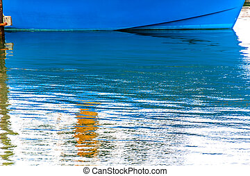 Blue Sailboat Reflection Westport Grays Harbor Washington...