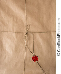 old paper with red wax seal and twine - Blank old paper with...