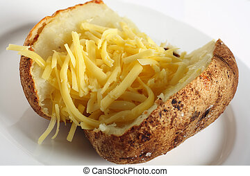 Baked russet potato with cheddar cheese - A baked russet...