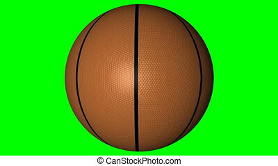 Basketball rotating on a chroma key background.