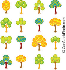 Cartoon trees icons - Set of sixteen cartoon trees
