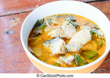 Red curry with fish - The Red curry with fish Thai food