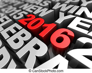 new year keywords - 3d illustration of new 2016 year...