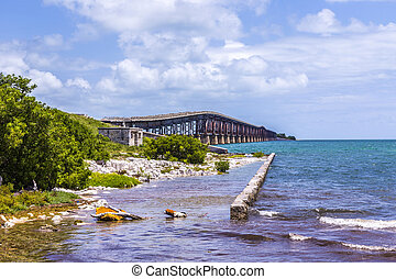 old railway bridge at Bahia Honda near Key West and old...