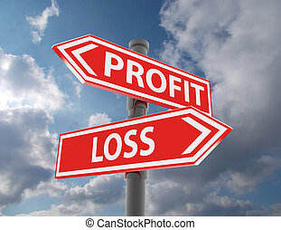 two road signs - profit or loss choice