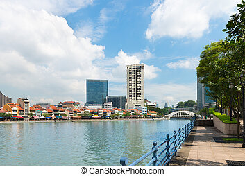 Singapore Skyline from the Boat Quay - Modern architecture...