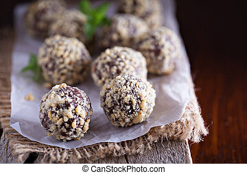 Chocolate truffles with peanut butter and milk chocolate