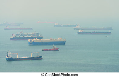 Many Enormous Cargo Ships Anchored in a Harbor - Many...