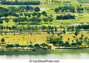 Elevated View of a Lush, Green Golf Course - Elevated view...
