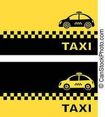 business card with retro taxi car