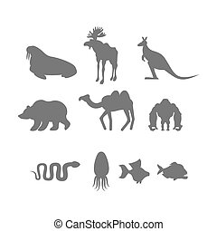 Set Wild animal silhouette. Animals