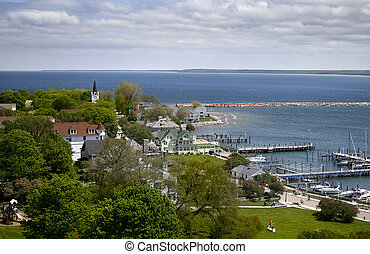 Mackinac Island - Historic Mackinac island areal view in...