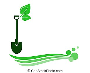 decorative gardening background with shovel and green wave